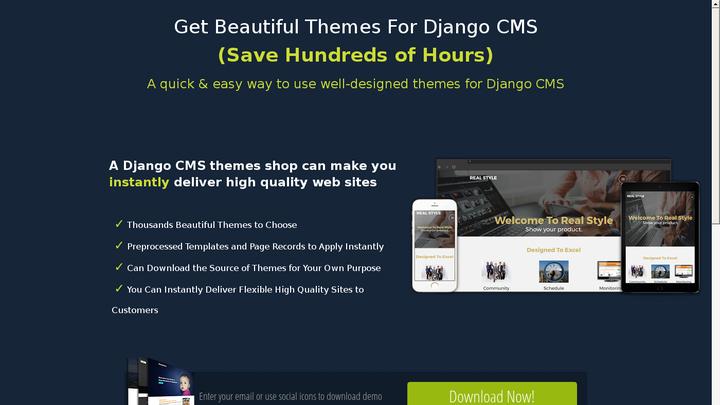 Landing Page for Django CMS themes
